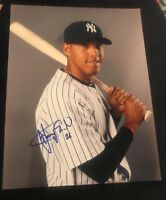 YANGERVIS SOLARTE SIGNED 8X10 PHOTO NY YANKEES BLUE JAYS W/COA+PROOF RARE WOW