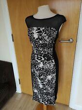 Ladies Dress Size 14 ROMAN Black Leopard Stretch Sheer Top Party Evening Wedding