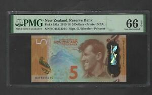 New Zealand 5 Dollars 2015-16 P191a Uncirculated Graded 66
