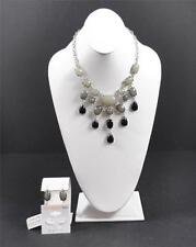 Sophisticated Style Gray Black Stone Necklace Earrings Set Handcrafted Artisan