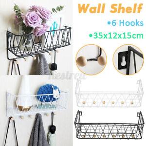 Wall Mounted Shelf Wire Rack Storage Shelf With Hooks Basket Key Hanging