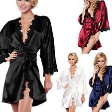 Women Luxury Nightdress Satin Lace Kimono Sleepwear Lingerie Dressing Gown Robe