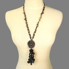 "28"" Black Hematite Shell Chip Tassel Handmade Seed Bead Non Metal Necklace"