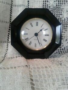 Quartz Signed LUMINARC Black Onyx GLASS Dresser Decor Clock