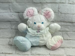 Vintage Fisher Price Puffalump Baby Mouse Plush Rattle 80s White Pink Blue 1357