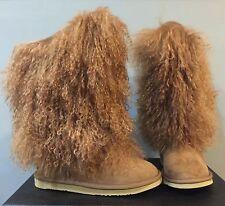 Australia Luxe Hun Smu Sheepskin Apres Ski Fur Shaft Suede Boots Women's *6 (7?