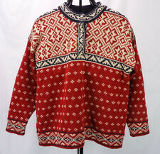 LL BEAN Vintage Red Ski Lodge Pullover Sweater 100% Wool Nordic Snowflake Mens L