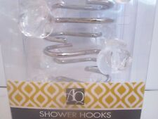 1 pack of 12 hooks Shower Curtain Hooks Robely Acrylic Clear Flower Rose Buds