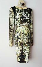 Karen Millen Green Ivory Black Croc print Bodycon Fitted Evening Dress Size 14