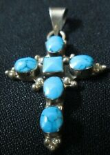 "Cross With 6 Bevel Set Turquoise Vintage Southwestern 2"" Long Sterling Silver"