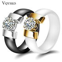 KERAMIK Ring STRASS silber gold Fingerring weiß schwarz LUXUS +++ AUSWAHL