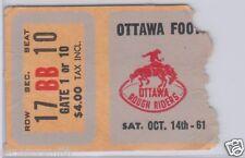 Vintage 1961 Ottawa Rough Riders (Russ Jackson)CFL Football Ticket vs Alouettes