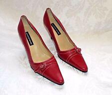 JENNIFER MOORE RED PUMPS, Red Leather Belt design Mid Heels, Juliette Pumps, 9M