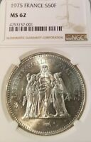 1976 FRANCE SILVER 50 FRANCS HERCULES NGC MS 62 GREAT LUSTER LOWER MINTAGE YEAR