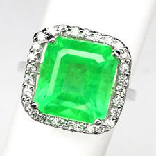 EMERALD GREEN OCTAGON 12 CT. SAPPHIRE 925 STERLING SILVER RING SZ 6.75 JEWELRY