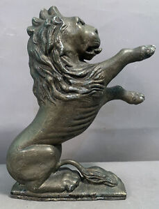 Antique CAST IRON Figural RAMPANT LION STATUE Old DOORSTOP Architectural Salvage
