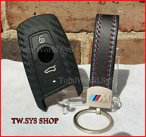 Silicone Key Case Cover ☆Carbon Design☆ For BMW F10 F20 F30 ☆4 Buttons☆