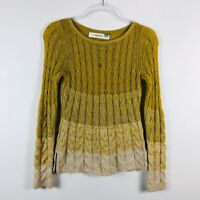 Sparrow Anthropologie Size XS Yellow Fading Stitch Ombre Cable Knit Sweater