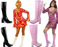 WOMEN'S LADIES FANCY DRESS 70S & 1960'S KNEE HIGH GO GO RETRO BOOTS SIZE  4 TO 8