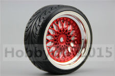 4pcs RC Hard 1/10 Pattern Drift Tires  Y12CR 3mm offset (Chrome+Painting Red)