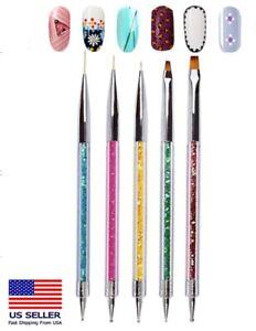 Double Ended Nail Art Brushes TIKA 5 PCS Dotting Pen Liner Brush Point Drill US