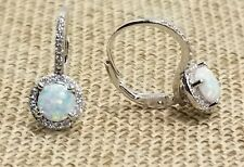 925 STERLING SILVER OPAL & CLEAR CZ HALO LEVERBACK EARRINGS