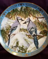 Danbury Mint Winged Treasures Blue Christmas Bird Plate
