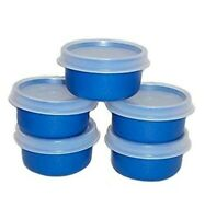 New TUPPERWARE Smidgets w/ Sheer Seals in BLUE! Set of 5 FREE US SHIPPING