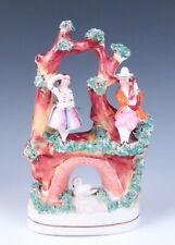 Nice Antique Staffordshire Musician & Dancer w/ Swan Figurine Pottery Figure