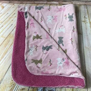 Just Born Pink Sherpa Baby Crib Blanket Bunny Rabbit Trees Flowers Leaves Lovey