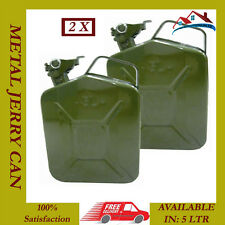 2 X NEW 5 L LITER JERRY METAL CAN FOR PETROL DIESEL OIL FUEL WATER CONTAINER