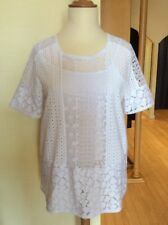 Riani Top Size 14 White Broderie Anglaise Over Vest Now