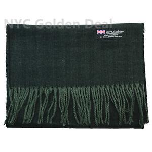 Men Women unisex 100% CASHMERE Warm PLAIN Scarf pure Wool Thick Strip Dark Green