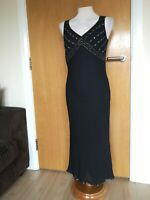 Ladies Dress Size 12 ANNE BROOKS PETITE Black Beaded Midi Party Evening Wedding
