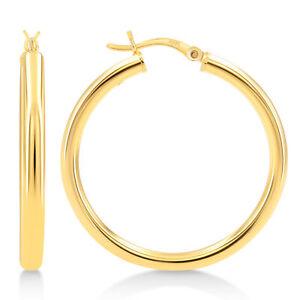 """Gold Plated Sterling Silver 3mm Hoop Earrings - 35mm (1 1/2"""""""") Diameter"""