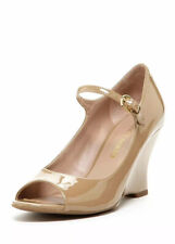 FRANCO SARTO Womens Solar Taupe Patent Leather Wedge Sandals Shoes Size 6 M