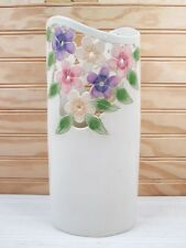 "Vintage Die Cut Out Ceramic Flower Vase Floral Pansies 10"" Pottery Signed Nelson"