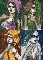 Gothic Fantasy Art PRINT Seasonal Dryads Trees Summer Spring Autumn Winter