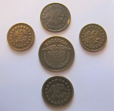 5PC Vintage Freedom Gaming Token Lot No Cash Value Eagle Shield 3 Sizes USA