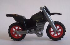 Lego MOTORCYCLE Dirtbike for Minifigures to Ride -Black with Red Wheels NEW!