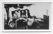 2 Moms & 2 Kids On The Hood Of A Car with California Plates Photo 1937