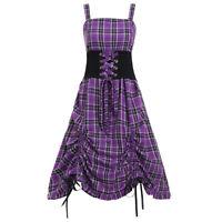 Dress Evening Victorian Purple Gothic Vintage Plaid 50s Steampunk Corset Ladies