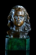 Bronze Bust of a Girl on a solid marble base, Classical sculpture, Gift, Art.