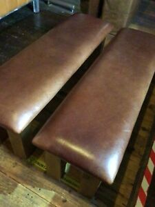 Genuine Aniline Leather Bench Chunky Hand Made Footstool Seat Pouffe Heavy 142cm