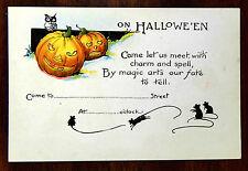ON HALLOWEEN LET US MEET Fantasy Party Invitation Postcard c.1918 Jack-O-Lantern