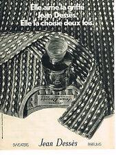PUBLICITE ADVERTISING  1971   JEAN DESSES   sweaters parfums