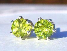 NEW Silver EARRINGS 4mm 1/2ct each Bright Flashy Green Mogok-Mined PERIDOT