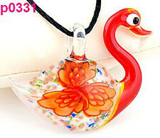 Handmade Fashion lovely Red Lifelike Swan Flower art lampwork glass pendant J331