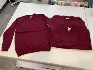 Brand New Pack of 6 AWDis JH030J Kids Unisex Sweatshirts Burgundy 9-11 years