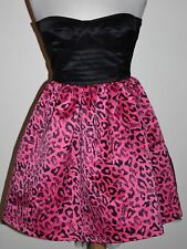 Abbey Dawn AVRIL LAVIGNE Pink Black Leopard Bustier Fit & Flare Dress M Medium